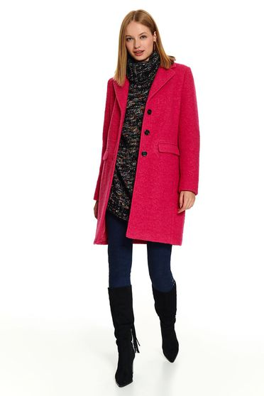 Pink elegant straight coat with pockets and buttons
