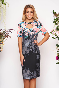 Grey dress elegant midi pencil cut-out bust design short sleeves with floral print