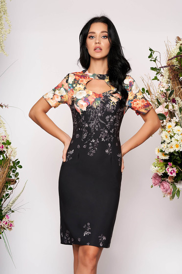 Black dress elegant midi pencil cut-out bust design without clothing short sleeves with floral print