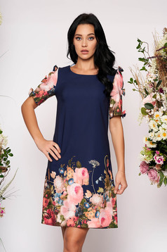Darkblue dress short cut daily flared with pockets short sleeves with bow accessories with floral print