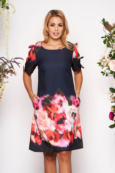Darkblue dress short cut daily flared with pockets with rounded cleavage scuba with floral print