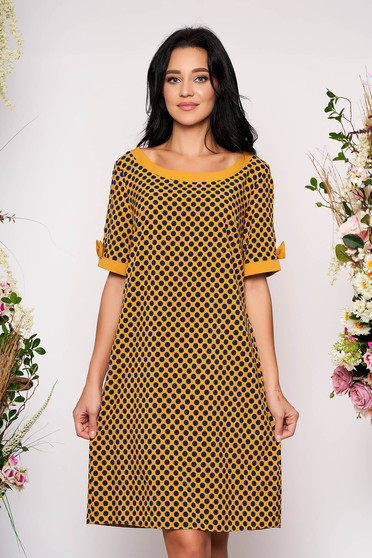 Mustard dress daily short cut flared with pockets without clothing short sleeves dots print