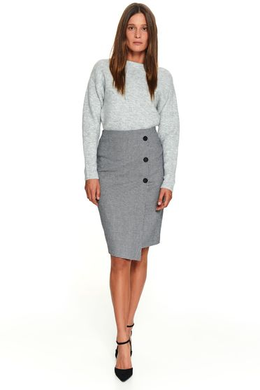 Black office midi asymmetrical skirt with button accessories