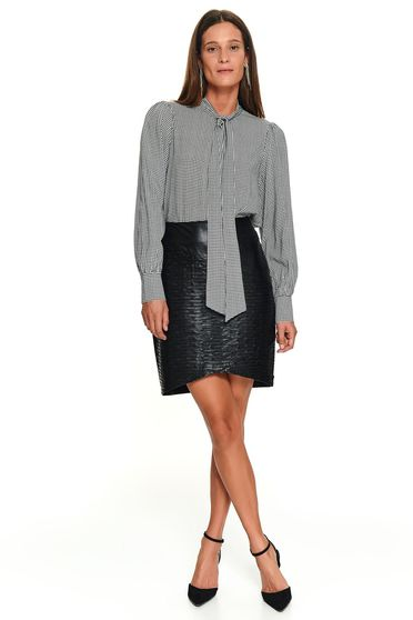 Black office short cut flared women`s shirt long sleeved tied with bow