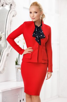 Red elegant 2 pieces lady set with skirt from thin and slightly elastic cloth
