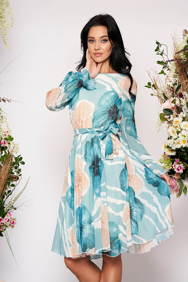 Turquoise elegant cloche midi dress from veil fabric with floral print elastic waist long sleeved
