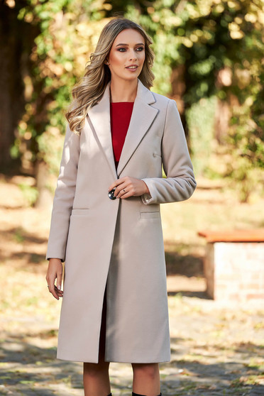 Straight with pockets cappuccino coat from wool basic with inside lining