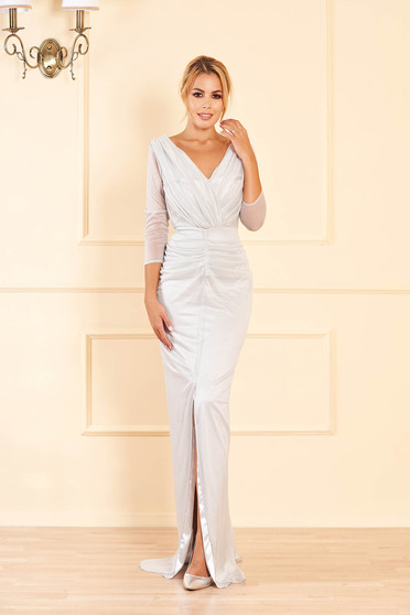 Silver dress occasional long mermaid cut with glitter details with v-neckline cut material