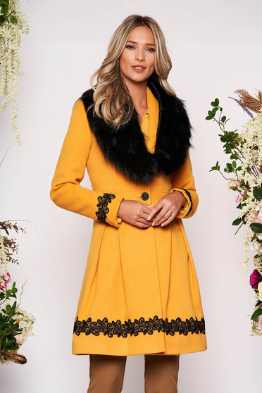 Mustard coat elegant long cloche fur collar from ecological fur with buttons