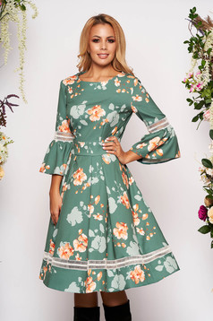 Lightgreen dress occasional cloche with floral print bell sleeves neckline
