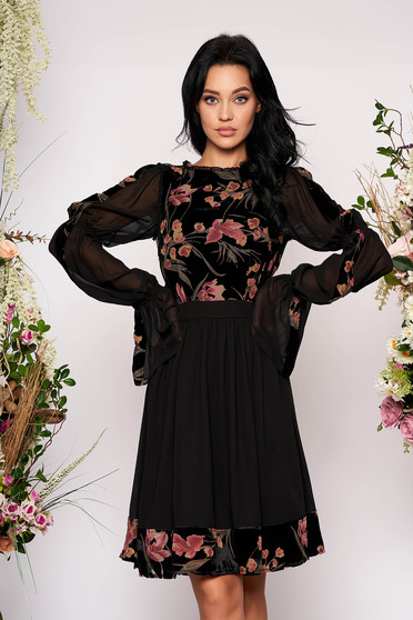 Black dress occasional midi cloche velvet from veil fabric long sleeved with bell sleeve with floral print