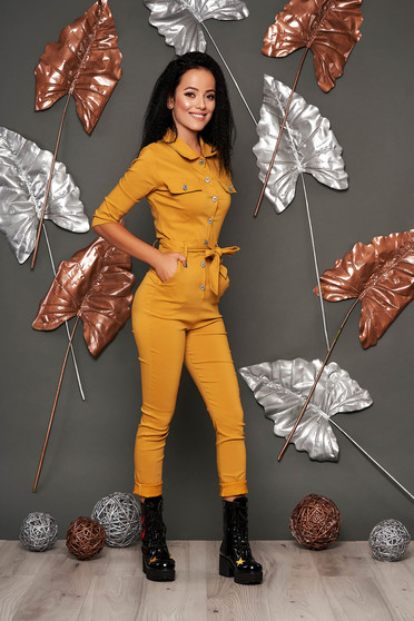 Mustard jumpsuit casual long with pockets detachable cord arched cut