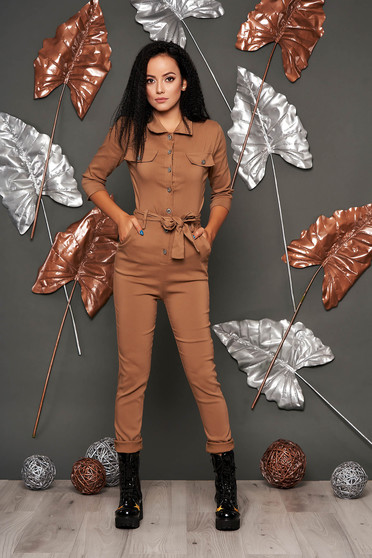 Cappuccino jumpsuit casual long with pockets detachable cord arched cut