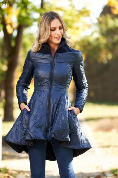 Darkblue from slicker jacket asymmetrical casual with inside lining