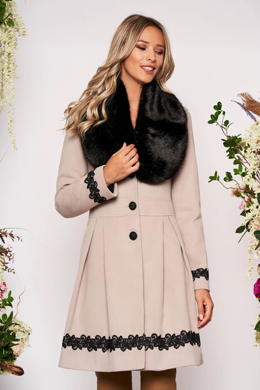 Cappuccino coat elegant long cloche fur collar from ecological fur with buttons