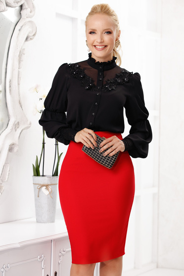 Black office short cut women`s blouse from airy fabric with long sleeves and embroidery details