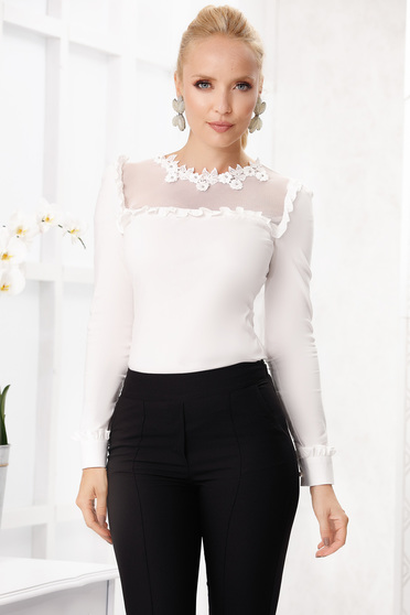 Ivory office tented cotton women`s shirt with long sleeves from elastic fabric