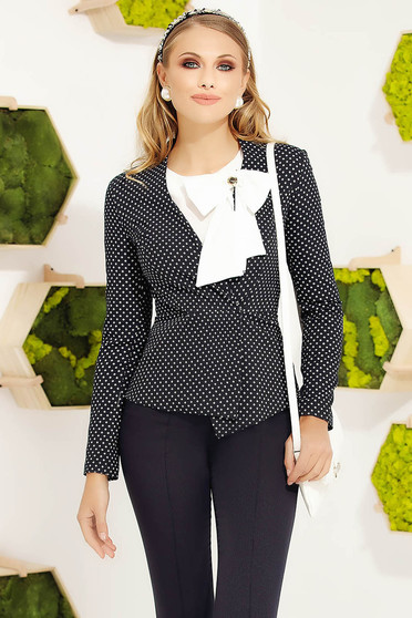 Darkblue office short cut tented jacket with graphic details long sleeves with padded shoulders with inside lining