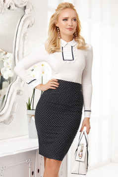 Darkblue skirt office midi pencil without clothing back slit with graphic details