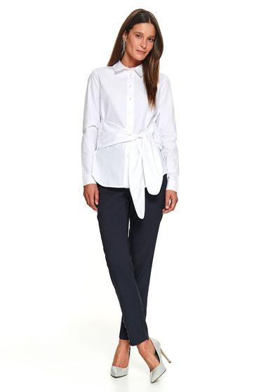 White women`s shirt long sleeved flared short cut basic