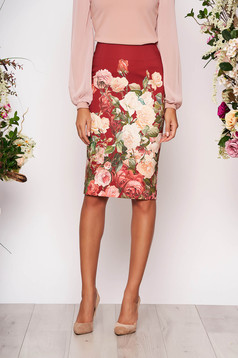 StarShinerS burgundy office midi pencil skirt slightly elastic fabric with floral prints