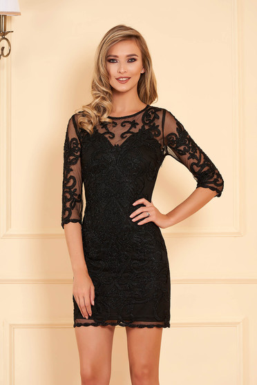 Black dress occasional short cut pencil with small beads embellished details long sleeved with inside lining