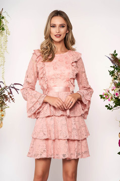 Lightpink dress short cut occasional laced with bell sleeve long sleeved neckline