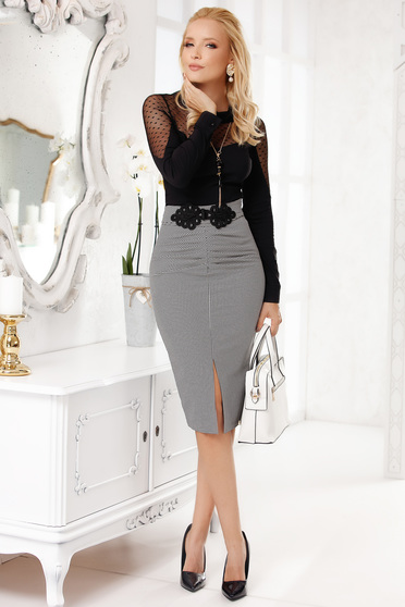 Grey office midi cotton pencil skirt with frontal slit without clothing embroidered