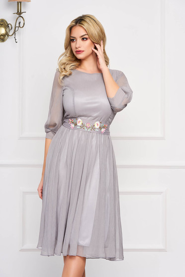 StarShinerS grey dress occasional midi cloche with 3/4 sleeves with rounded cleavage airy fabric detachable cord