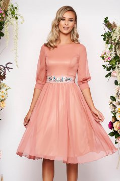 StarShinerS lightpink dress occasional midi cloche with 3/4 sleeves with rounded cleavage airy fabric detachable cord