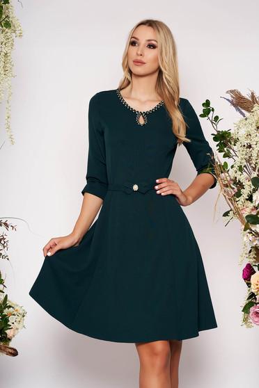 Darkgreen elegant cloche dress soft fabric handmade details accessorized with belt