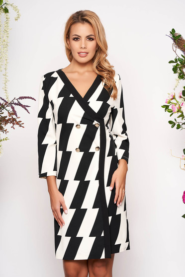 Black dress elegant short cut pencil wrap over front with 3/4 sleeves without clothing with stripes
