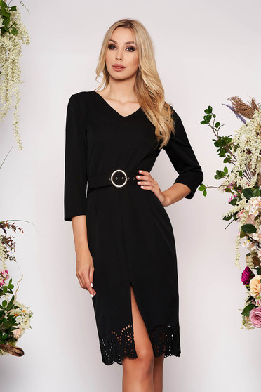 Black dress elegant midi pencil with v-neckline with cut out material accessorized with belt