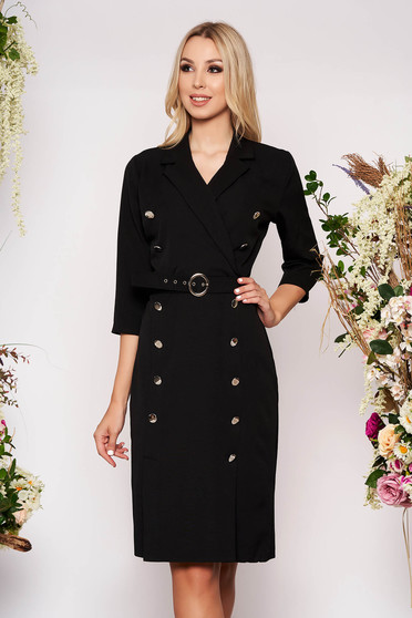 Black dress elegant midi pencil cloth thin fabric with 3/4 sleeves accessorized with belt