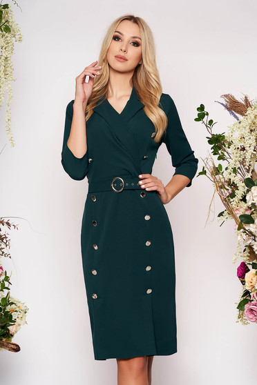 Darkgreen dress elegant midi pencil cloth thin fabric with 3/4 sleeves accessorized with belt