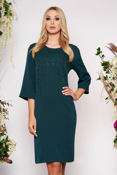Dirty green dress elegant midi straight cloth thin fabric with 3/4 sleeves with small beads embellished details with crystal embellished details