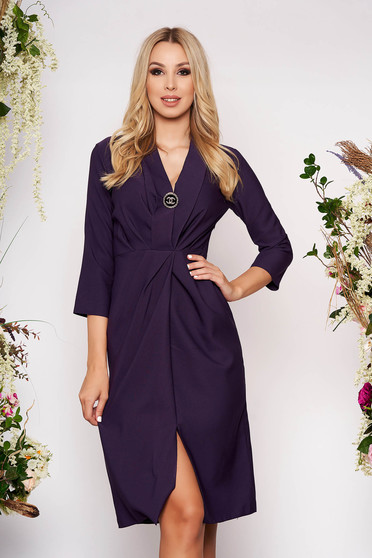 Purple dress elegant midi pencil with 3/4 sleeves cloth thin fabric with v-neckline with an accessory