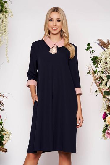 Darkblue dress elegant midi thin fabric with pockets with 3/4 sleeves cloth flared