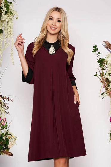 Burgundy dress elegant midi thin fabric with pockets with 3/4 sleeves cloth flared