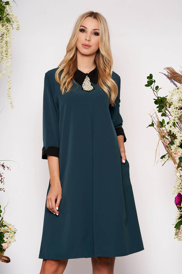 Dirty green dress elegant midi thin fabric with pockets with 3/4 sleeves cloth flared