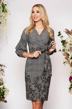 Grey dress elegant midi pencil with wrinkled sleeves detachable cord with chequers without clothing