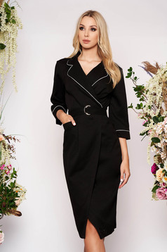 Black occasional midi straight wrap around dress with pockets with 3/4 sleeves accessorized with belt