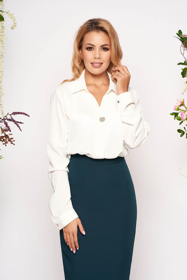 Ivory women`s shirt elegant short cut with collar airy fabric long sleeved