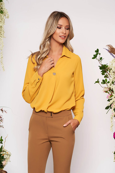 Mustard women`s shirt elegant short cut with collar airy fabric long sleeved