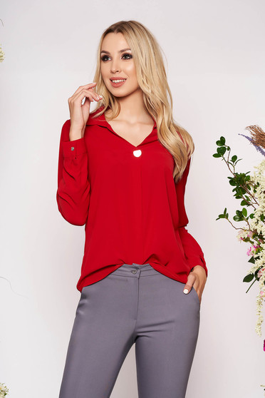 Red women`s shirt elegant short cut with collar airy fabric long sleeved