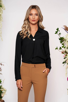 Black women`s shirt elegant short cut with collar airy fabric long sleeved