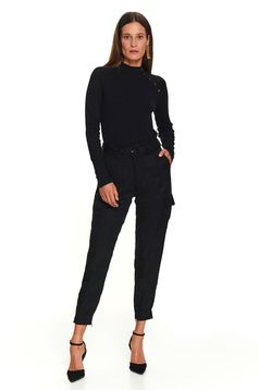 Black trousers casual long with front pockets accessorized with belt lateral pockets