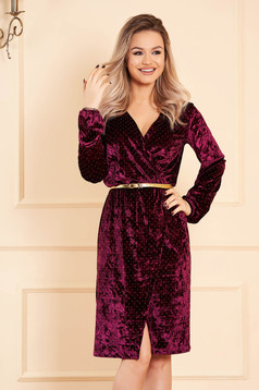 StarShinerS burgundy dress occasional with a cleavage wrap over front long sleeved velvet with crystal embellished details accessorized with belt