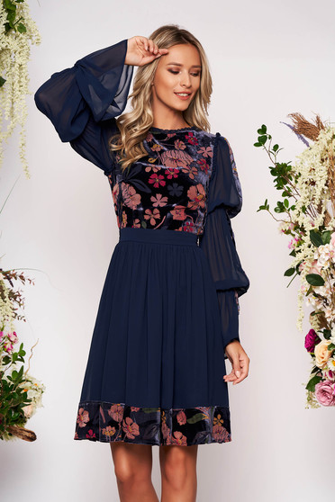 Darkblue dress occasional midi cloche velvet from veil fabric long sleeved with bell sleeve with floral print