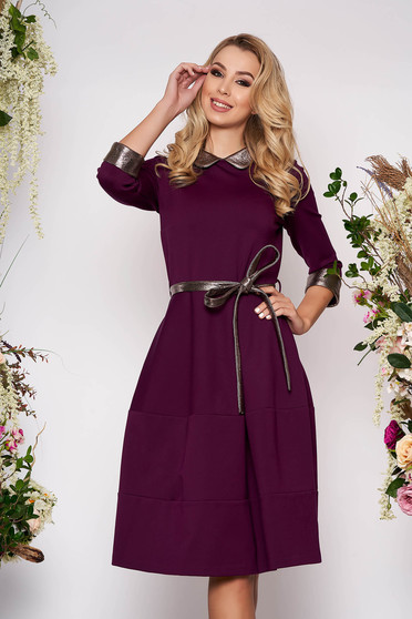 Purple dress elegant midi cloche without clothing with 3/4 sleeves from elastic fabric detachable cord